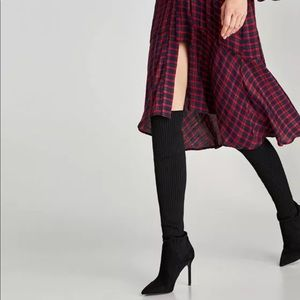 ✯★✶ ZARA ✯★✶ Over the Knee Black Sock Style Boots